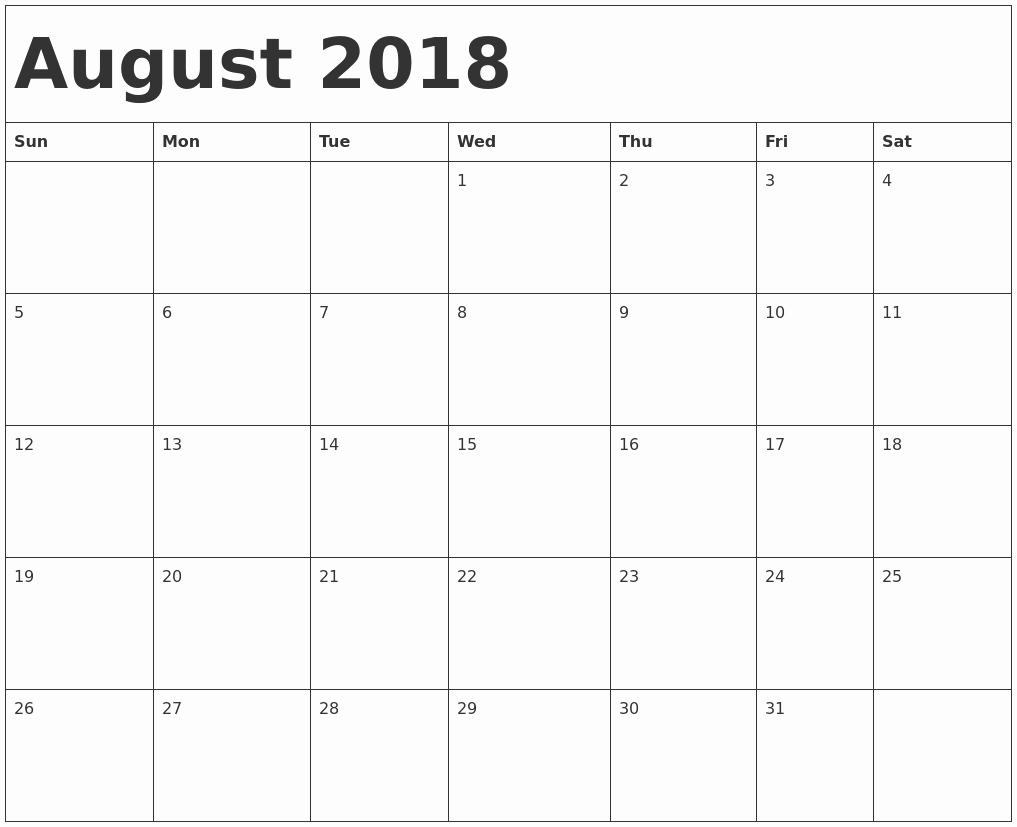 Microsoft Word 2018 Calendar Templates Fresh August 2018 Calendar Word
