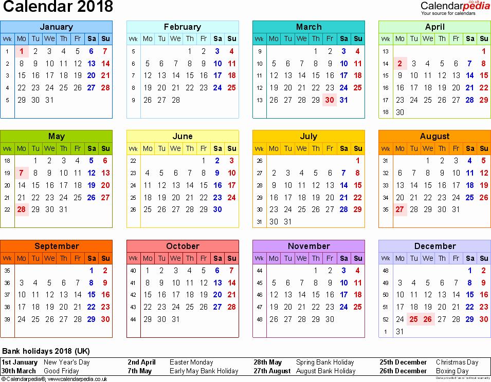 Microsoft Word 2018 Calendar Templates Inspirational Calendar 2018 Uk 16 Free Printable Word Templates