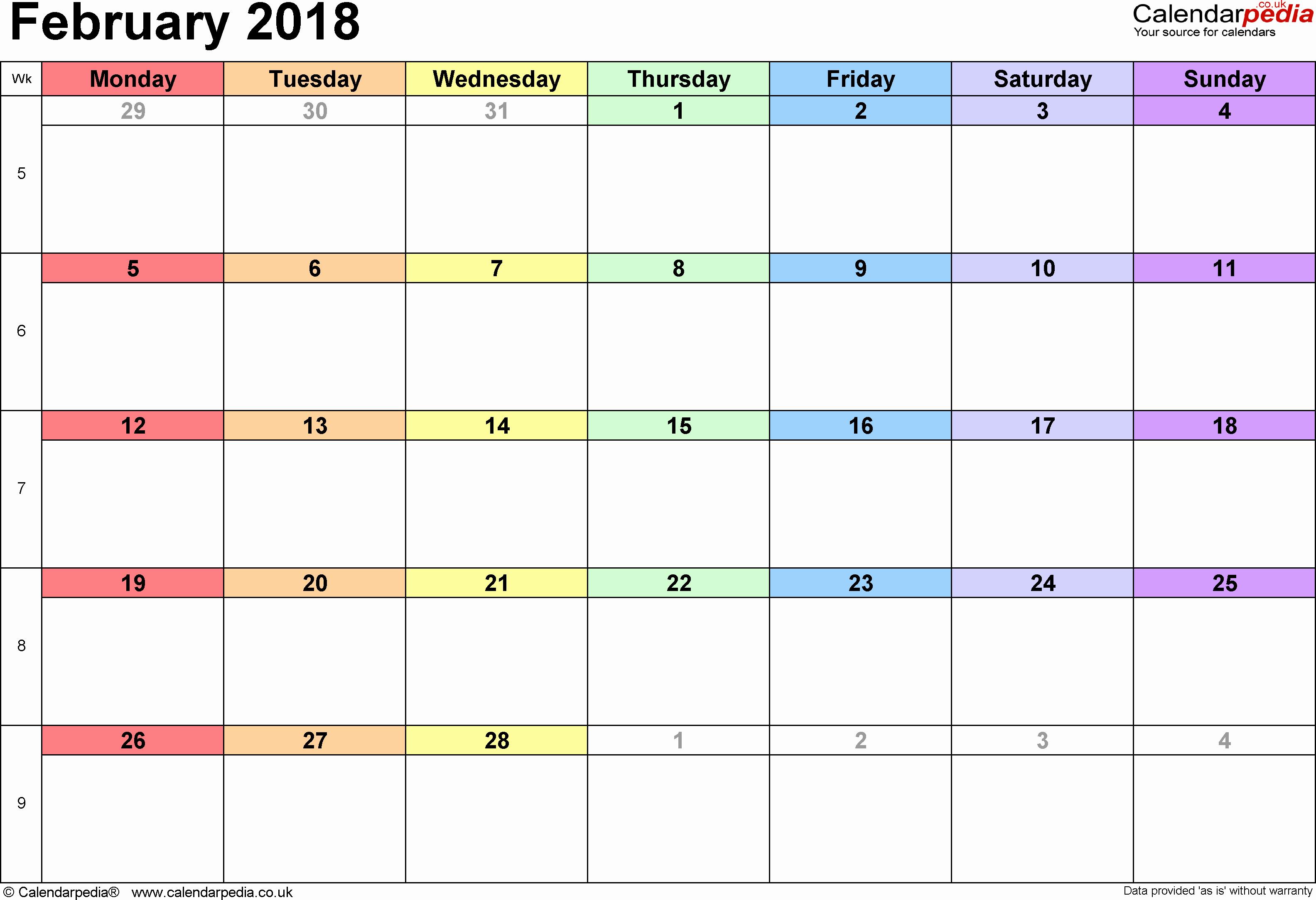Microsoft Word 2018 Calendar Templates Inspirational February 2018 Calendar Word