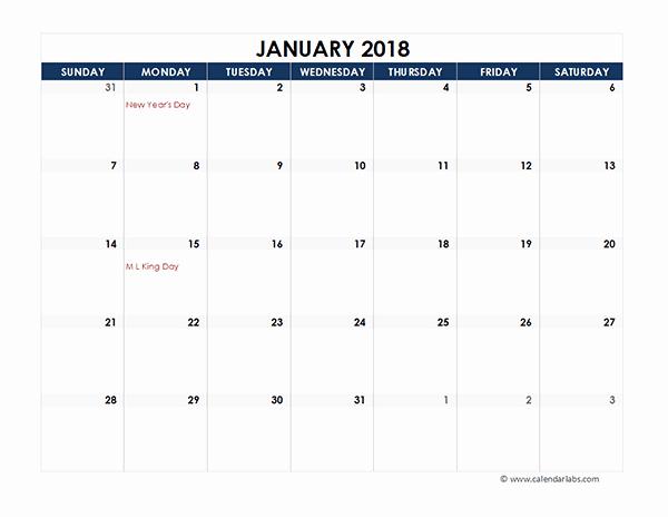 Microsoft Word 2018 Calendar Templates Unique Microsoft Excel Calendar Template 2018