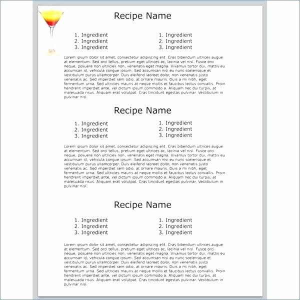 Microsoft Word 4x6 Card Template Elegant Recipe Card Template for Microsoft Word Free Editable