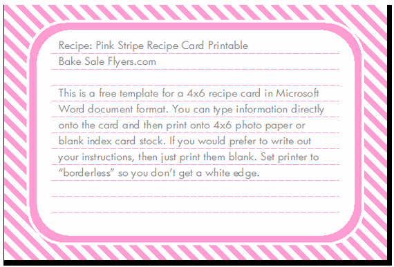 Microsoft Word 4x6 Card Template Inspirational Free 4x6 Recipe Card Template
