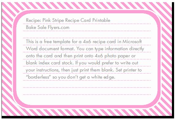 Microsoft Word 4x6 Card Template Inspirational Free 4x6 Recipe Card Template