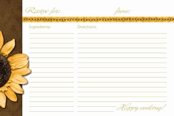 Microsoft Word 4x6 Card Template Luxury 4x6 Recipe Card Template Sunflower Recipe Card