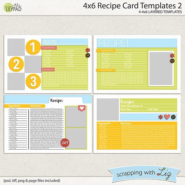 Microsoft Word 4x6 Card Template Luxury Digital Scrapbook Templates 4x6 Recipe Card 2