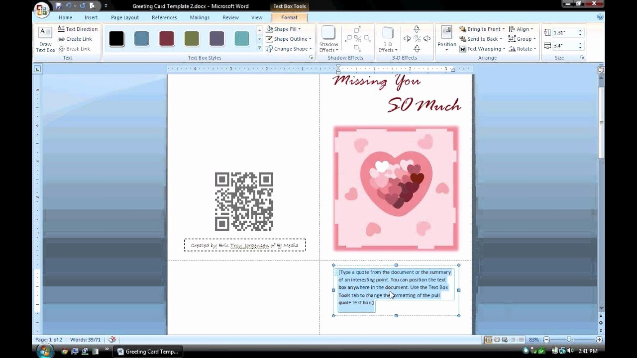 Microsoft Word Birthday Card Templates Awesome Ms Word Tutorial Part 1 Greeting Card Template