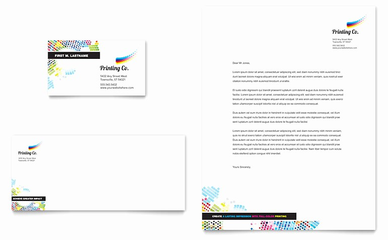 Microsoft Word Business Letter Templates Beautiful Printing Pany Business Card & Letterhead Template