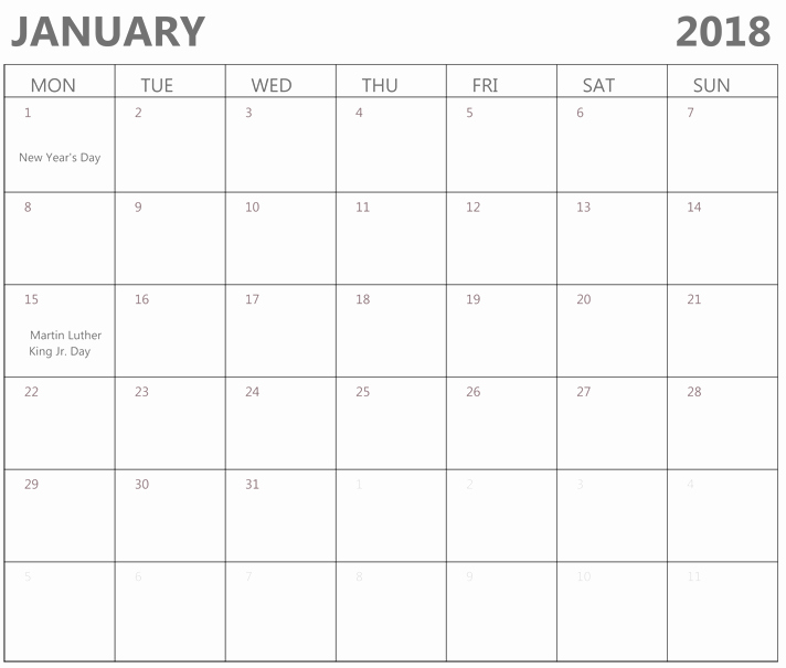 Microsoft Word Calendar Template 2018 Beautiful January 2018 Calendar Printable Word