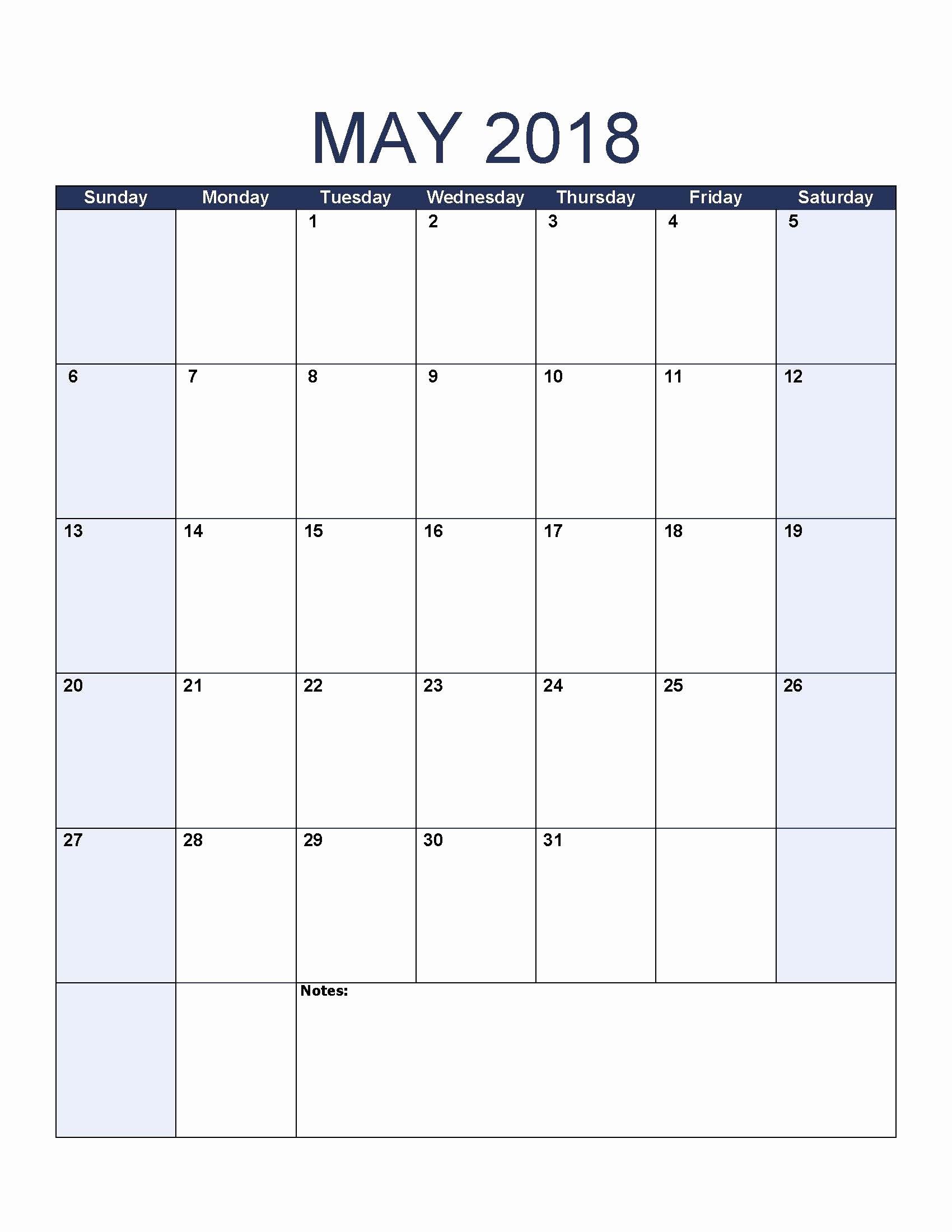 Microsoft Word Calendar Template 2018 Elegant Printable May 2018 Calendar Word