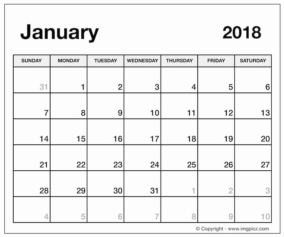 Microsoft Word Calendar Template 2018 Luxury January 2018 Calendar Word