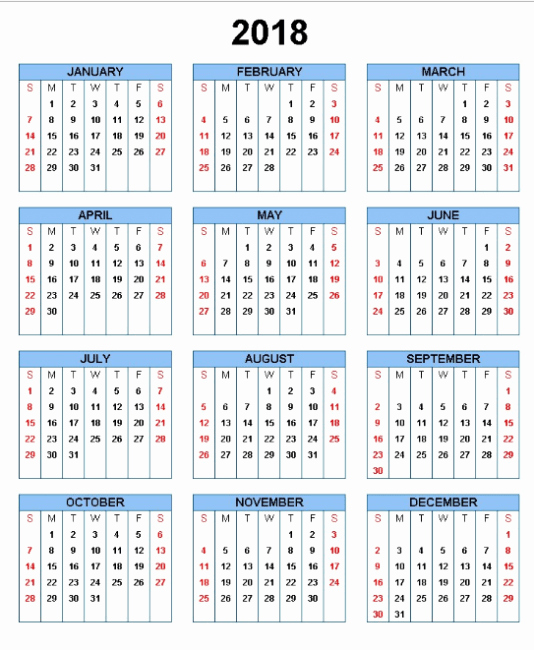 Microsoft Word Calendar Template 2018 Luxury Microsoft Word Calendar Template 2018