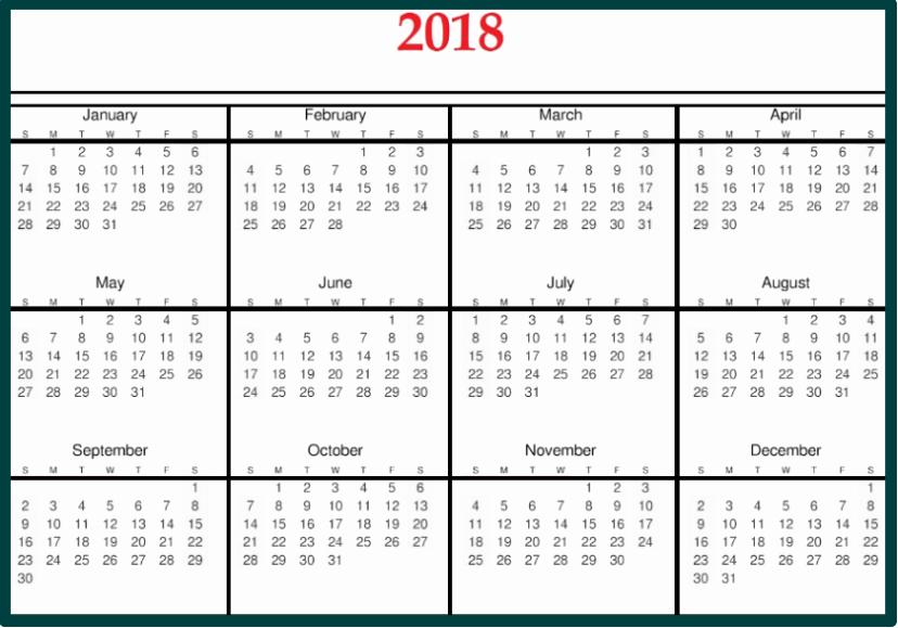 Microsoft Word Calendar Template 2018 New 2018 Calendar Template Word