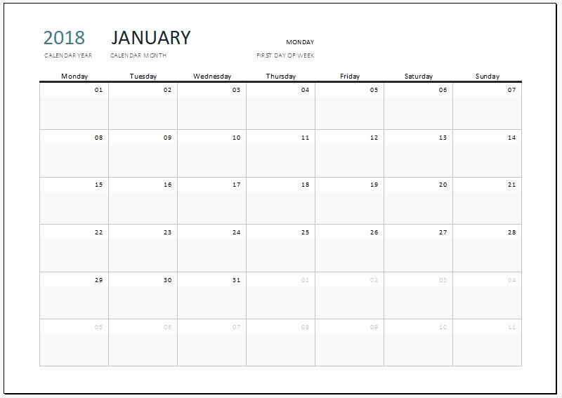 Microsoft Word Calendar Template 2018 Unique 2018 Calendar Templates for Ms Excel