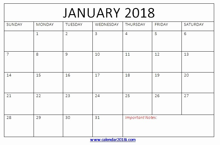 Microsoft Word Calendar Template 2018 Unique January 2018 Calendar Printable Templates Word Blank