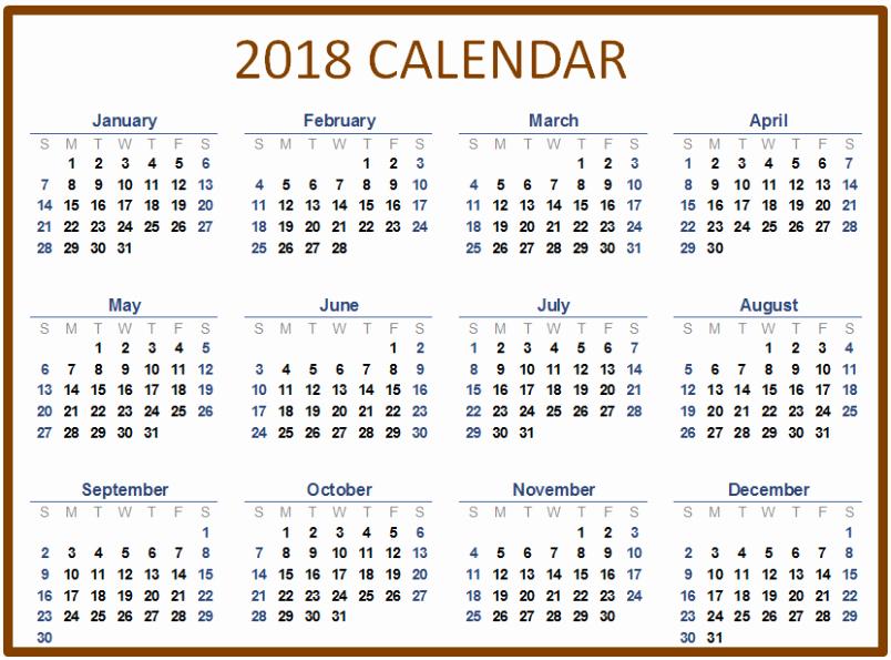 Microsoft Word Calendar Template 2018 Unique Microsoft Word Calendar Template 2018 Templates Data