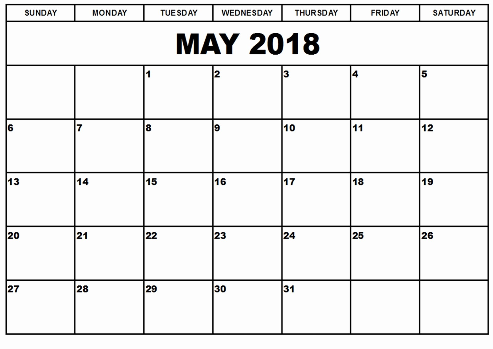 Microsoft Word Calendar Template 2018 Unique Printable May 2018 Calendar Word