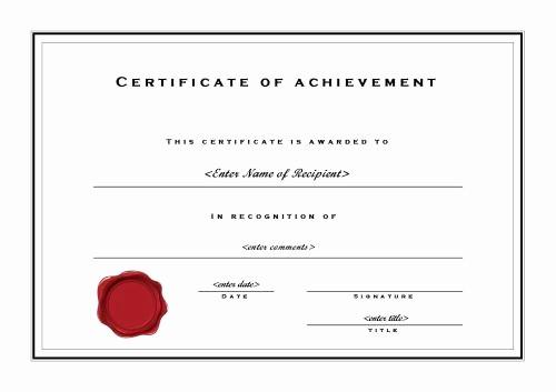 Microsoft Word Certificate Template Free Beautiful Certificate Of Achievement 002