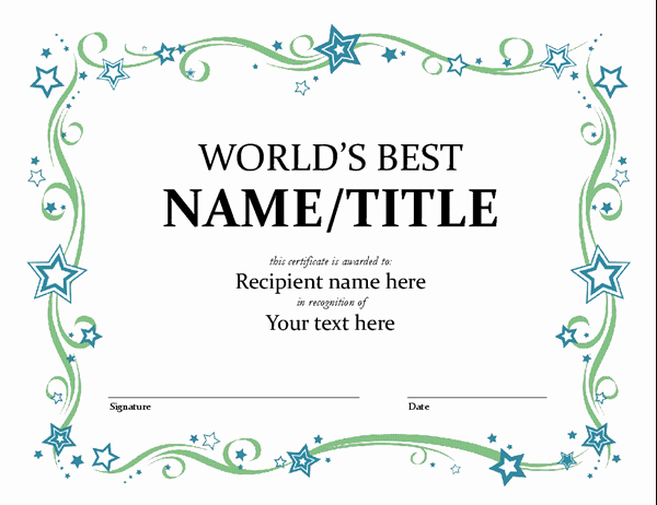 Microsoft Word Certificate Template Free Beautiful World S Best Award Certificate