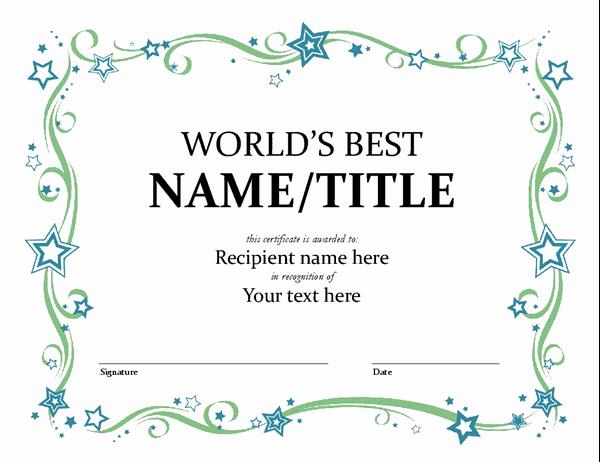 Microsoft Word Certificate Template Free Beautiful World S Best Award Certificate
