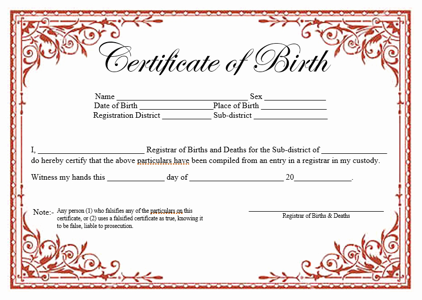Microsoft Word Certificate Template Free Fresh 14 Free Birth Certificate Templates Ms Word & Pdfs