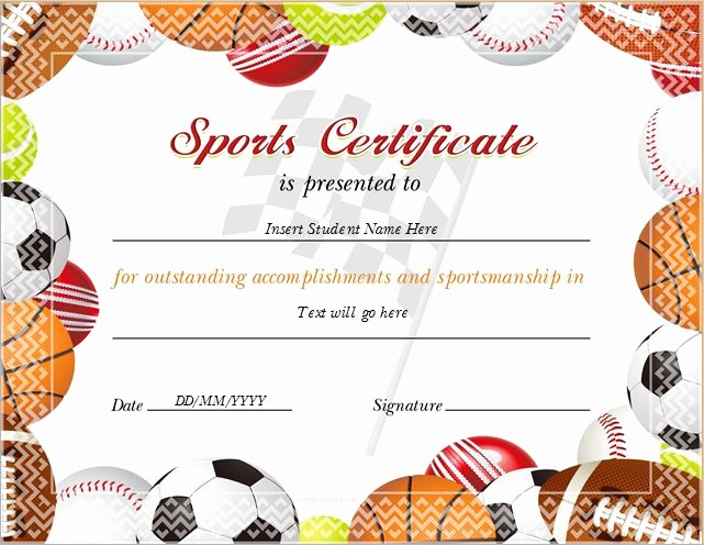 Microsoft Word Certificate Template Free Inspirational Sports Certificate Templates for Ms Word