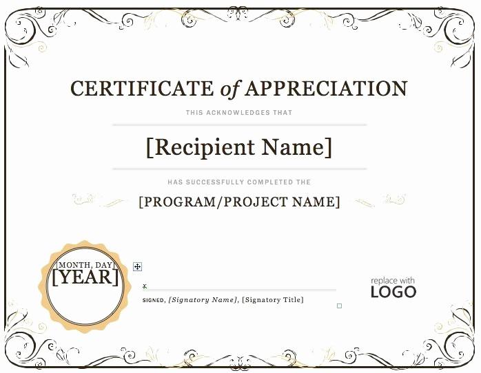 Microsoft Word Certificate Template Free Luxury Certificate Of Appreciation – Microsoft Word