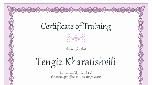 Microsoft Word Certificate Templates Free Beautiful Certificate Of Training Purple Chain Design