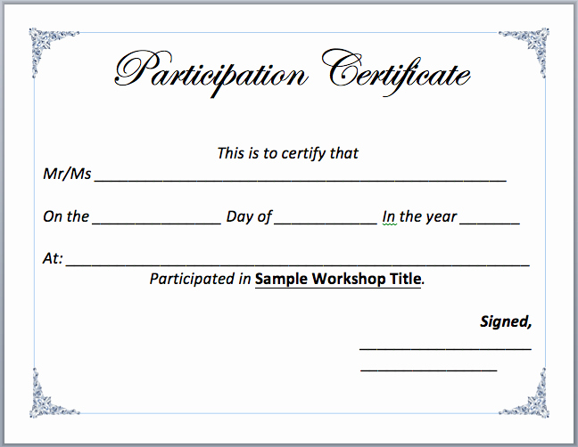 Microsoft Word Certificate Templates Free Lovely Workshop Participation Certificate Template – Microsoft