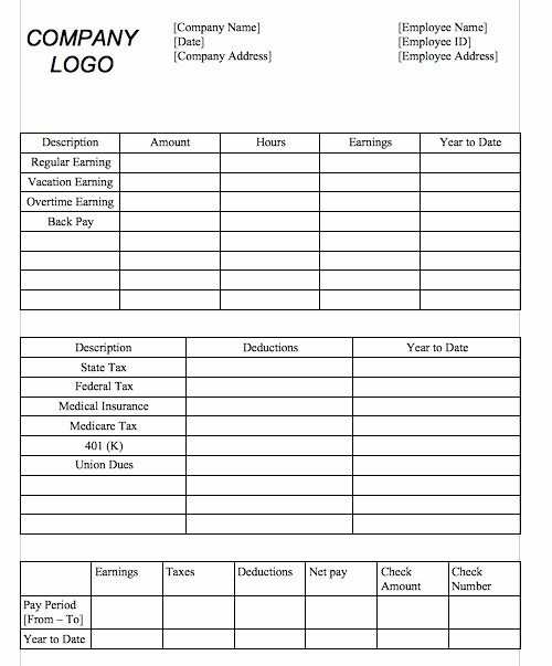Microsoft Word Check Stub Template Awesome 25 Great Pay Stub Paycheck Stub Templates