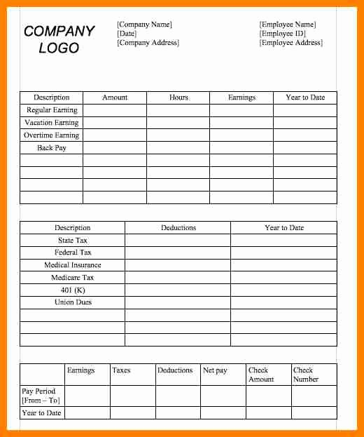 Microsoft Word Check Stub Template Awesome 6 Paycheck Stub Template In Microsoft Word