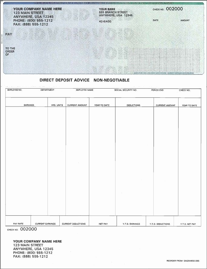 Microsoft Word Check Stub Template Best Of Blank Payroll Check Template Invitation Template