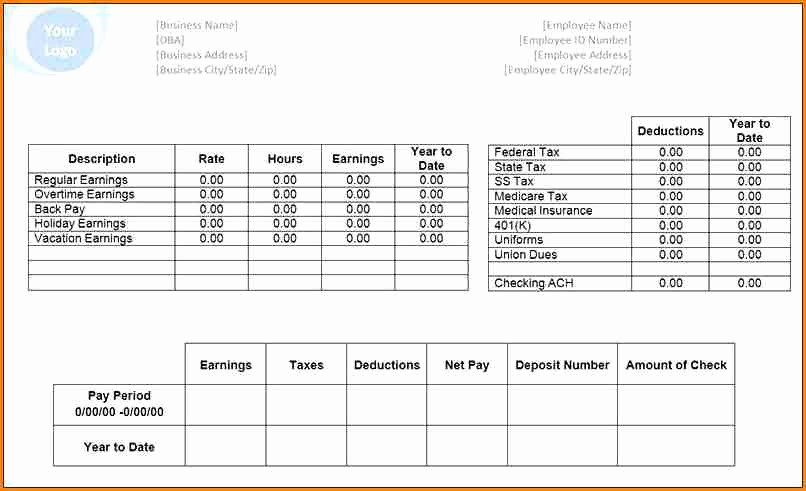 Microsoft Word Check Stub Template Luxury 6 Pay Stub Template Microsoft Office