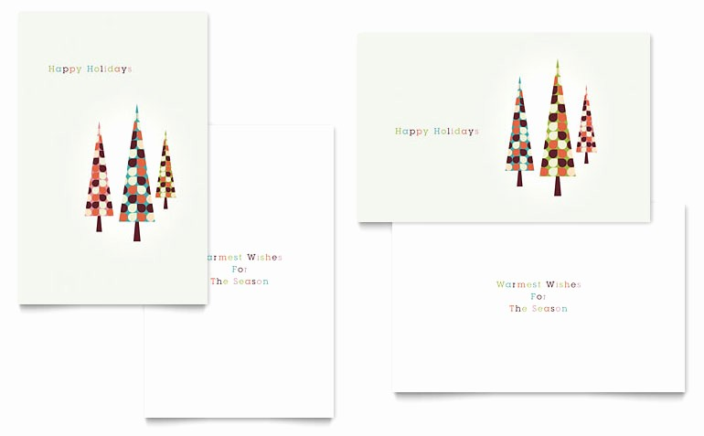 Microsoft Word Christmas Card Template Awesome Modern Holiday Trees Greeting Card Template Word & Publisher