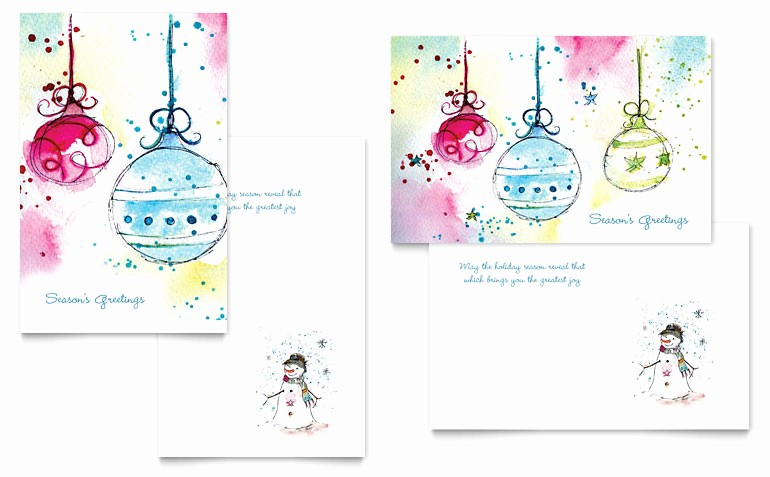 Microsoft Word Christmas Card Template Inspirational Whimsical ornaments Greeting Card Template Word & Publisher