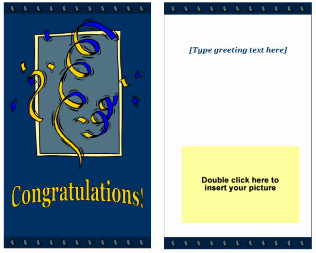 Microsoft Word Christmas Card Template New Congratulations Greeting Card Template Easy Printable