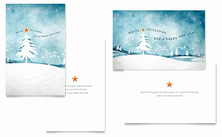 Microsoft Word Christmas Card Template New Winter Landscape Greeting Card Template Word & Publisher