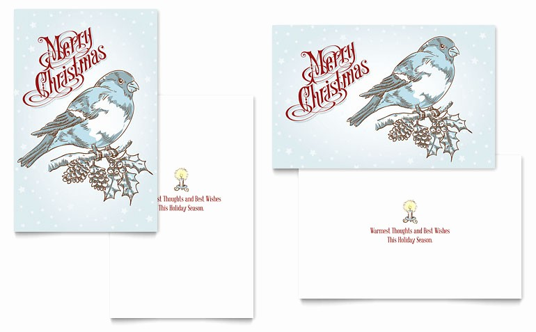 Microsoft Word Christmas Card Template Unique Vintage Bird Greeting Card Template Word & Publisher