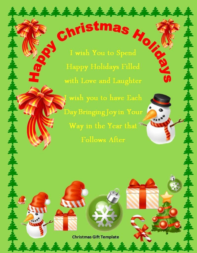 Microsoft Word Christmas Card Templates Best Of 10 Christmas Gift Templates