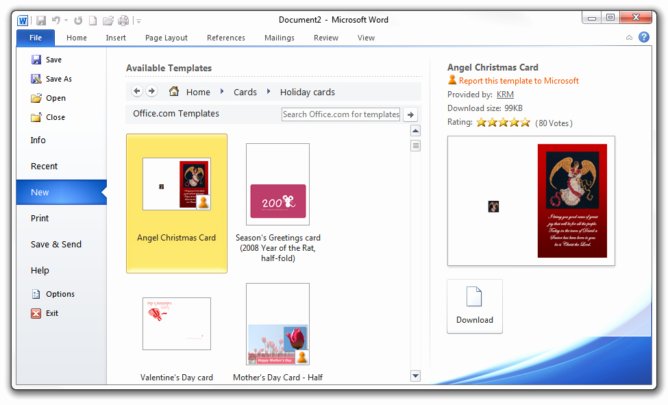 Microsoft Word Christmas Card Templates Elegant Free Avery Template for Microsoft Word Greeting Card