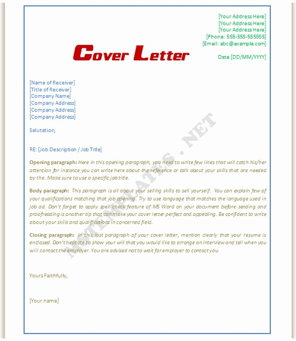 Microsoft Word Cover Letter Templates Beautiful Cover Letter Template Word