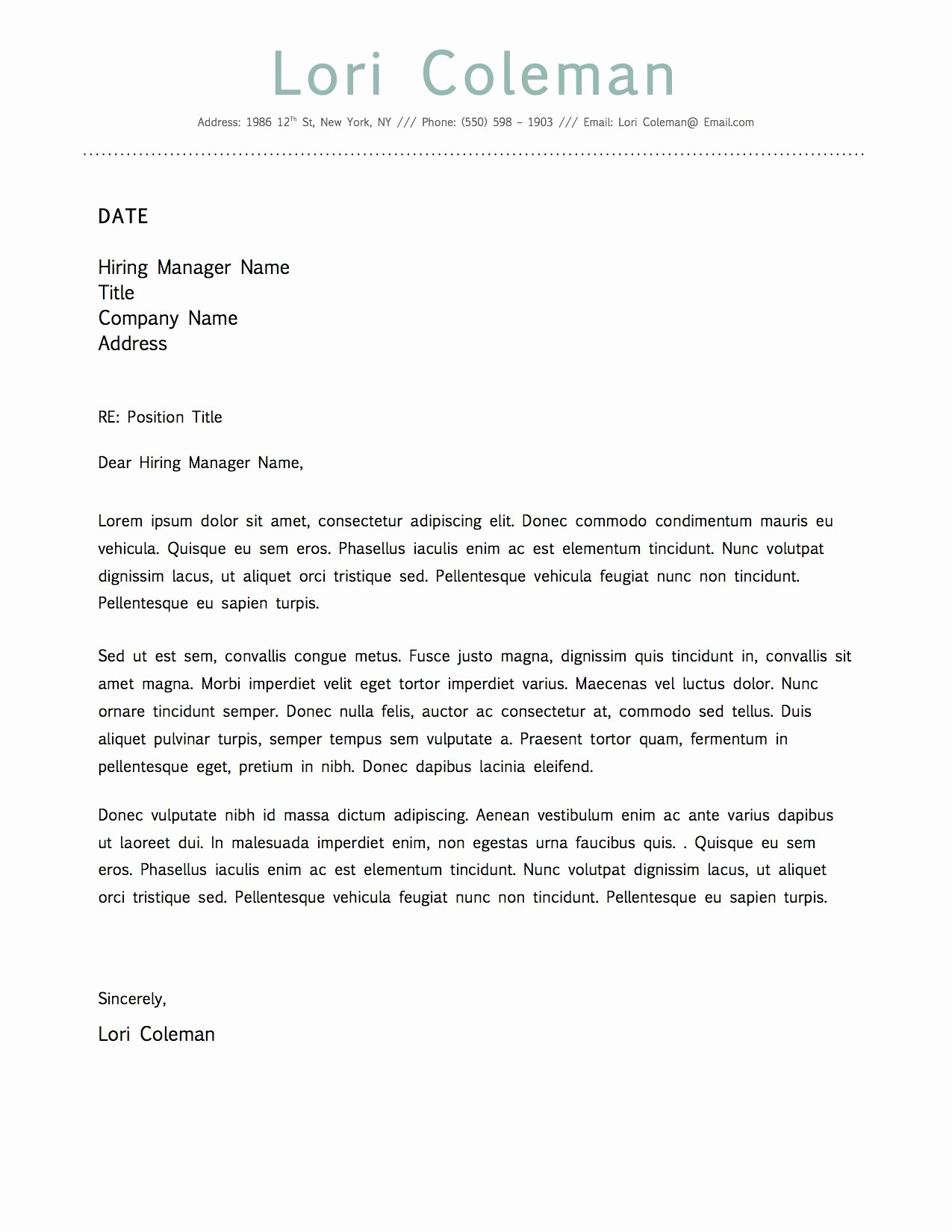 Microsoft Word Cover Letter Templates Elegant Simple Beautiful Cover Letter Template for Microsoft Word
