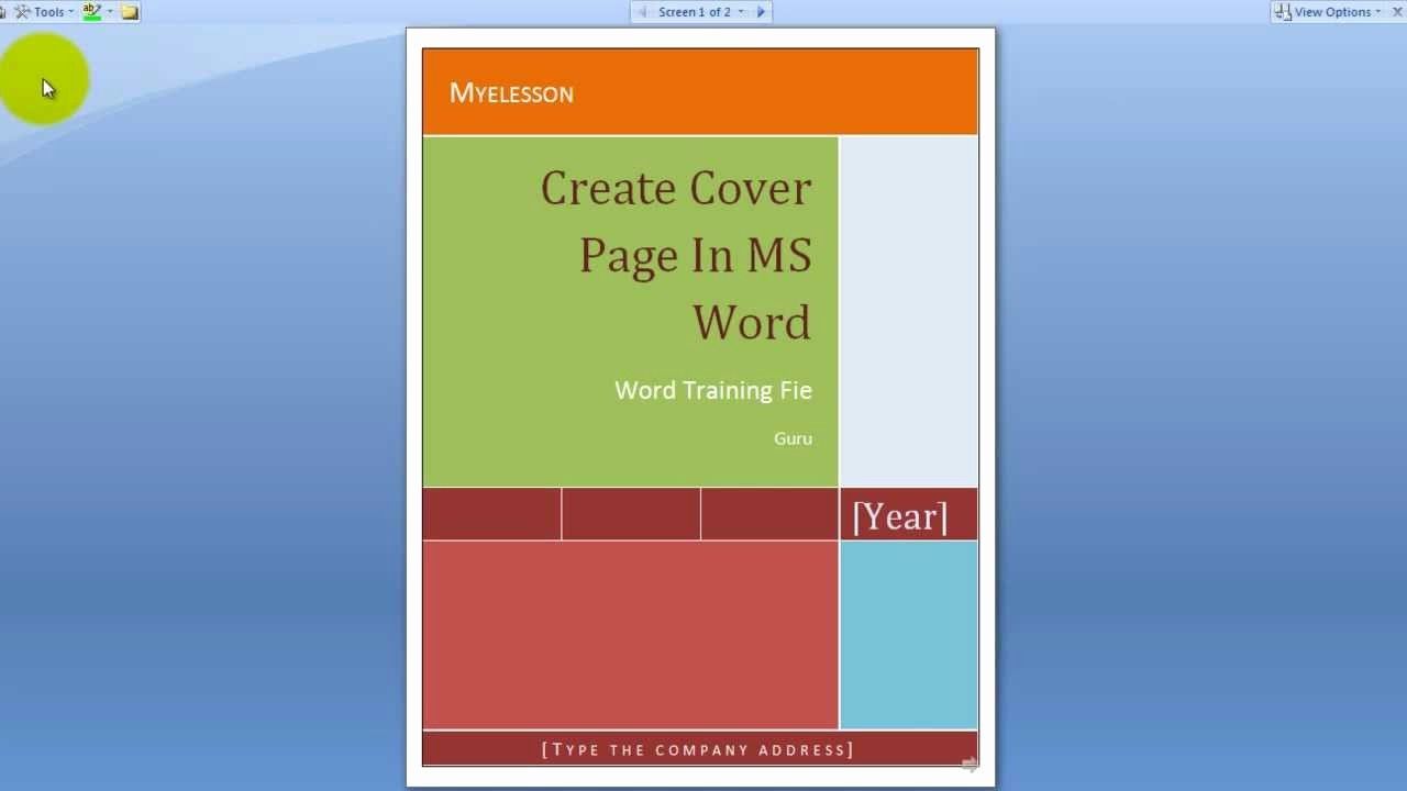 Microsoft Word Cover Pages Templates Lovely Create A Cover Page In Ms Word English