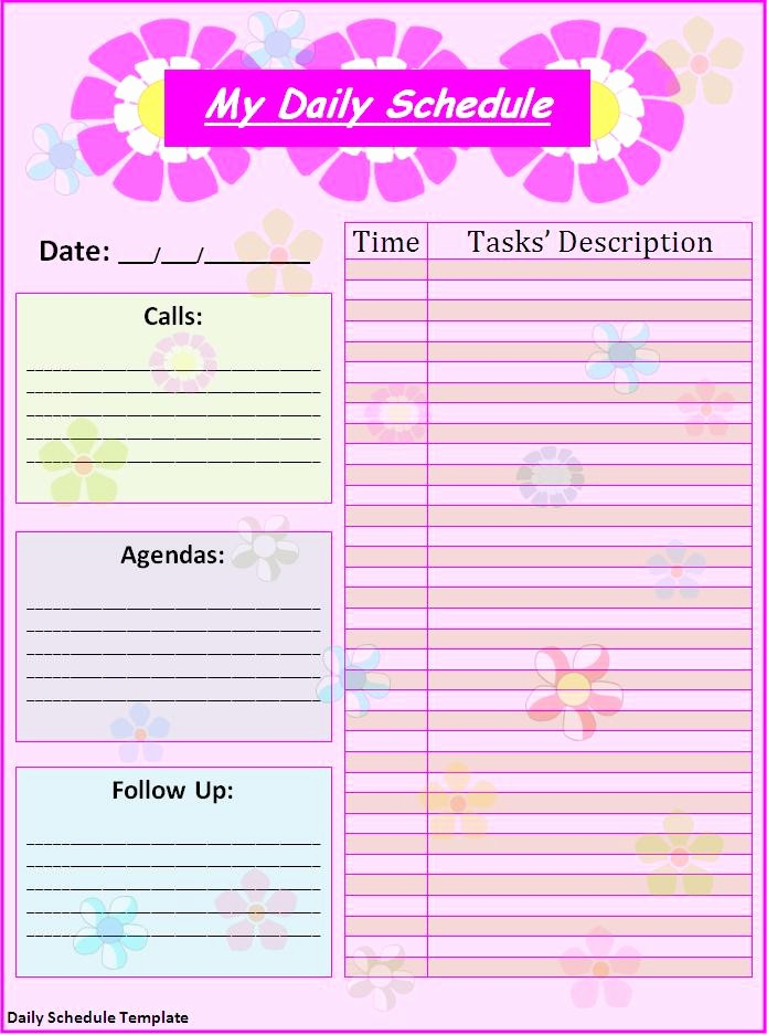 Microsoft Word Daily Schedule Template Best Of Daily Schedule Template Best Word Templates