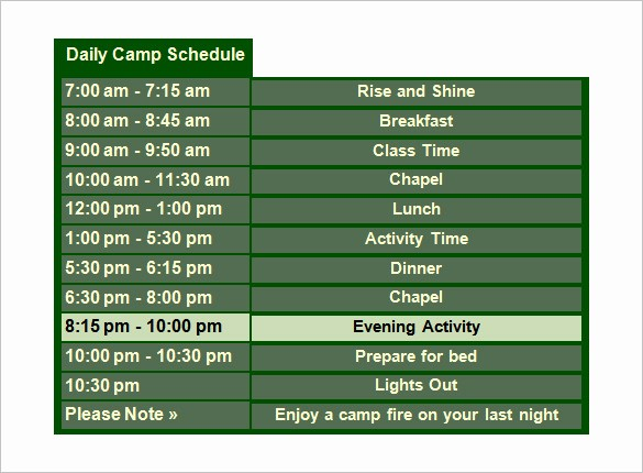Microsoft Word Daily Schedule Template Elegant Summer Camp Schedule Template Image Collections Template