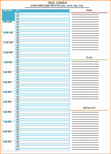 Microsoft Word Daily Schedule Template Fresh 8 Daily Time Schedule