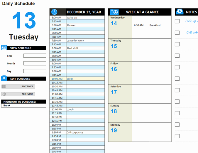 Microsoft Word Daily Schedule Template Unique Daily Work Schedule Template