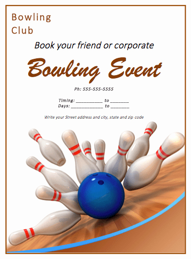 Microsoft Word event Flyer Template Inspirational Bowling Match Flyer Template Free Flyer Templates