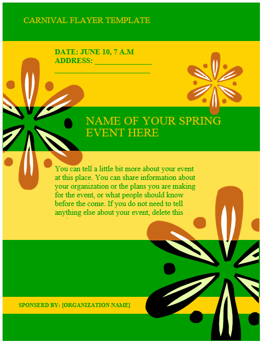 Microsoft Word event Flyer Template Lovely Carnival Flyer Template – Microsoft Word Templates