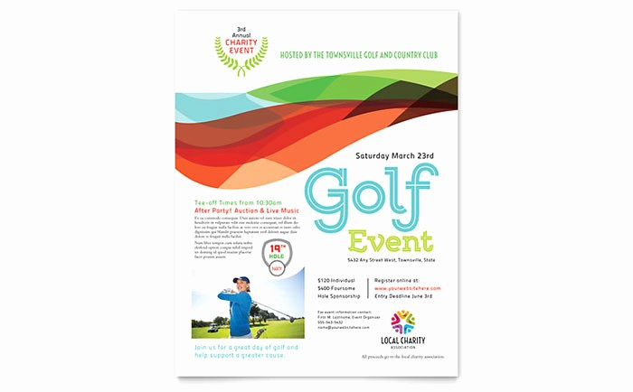 Microsoft Word event Flyer Template Luxury Charity Golf event Flyer Template Word & Publisher