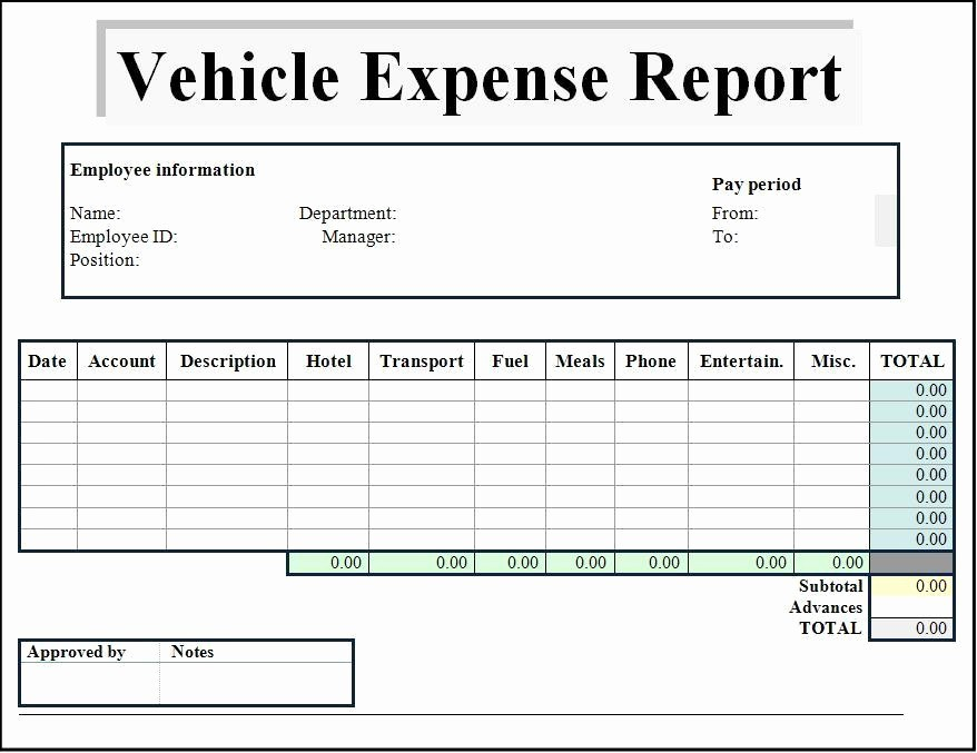 Microsoft Word Expense Report Template Awesome Expense Report Template Word Excel formats